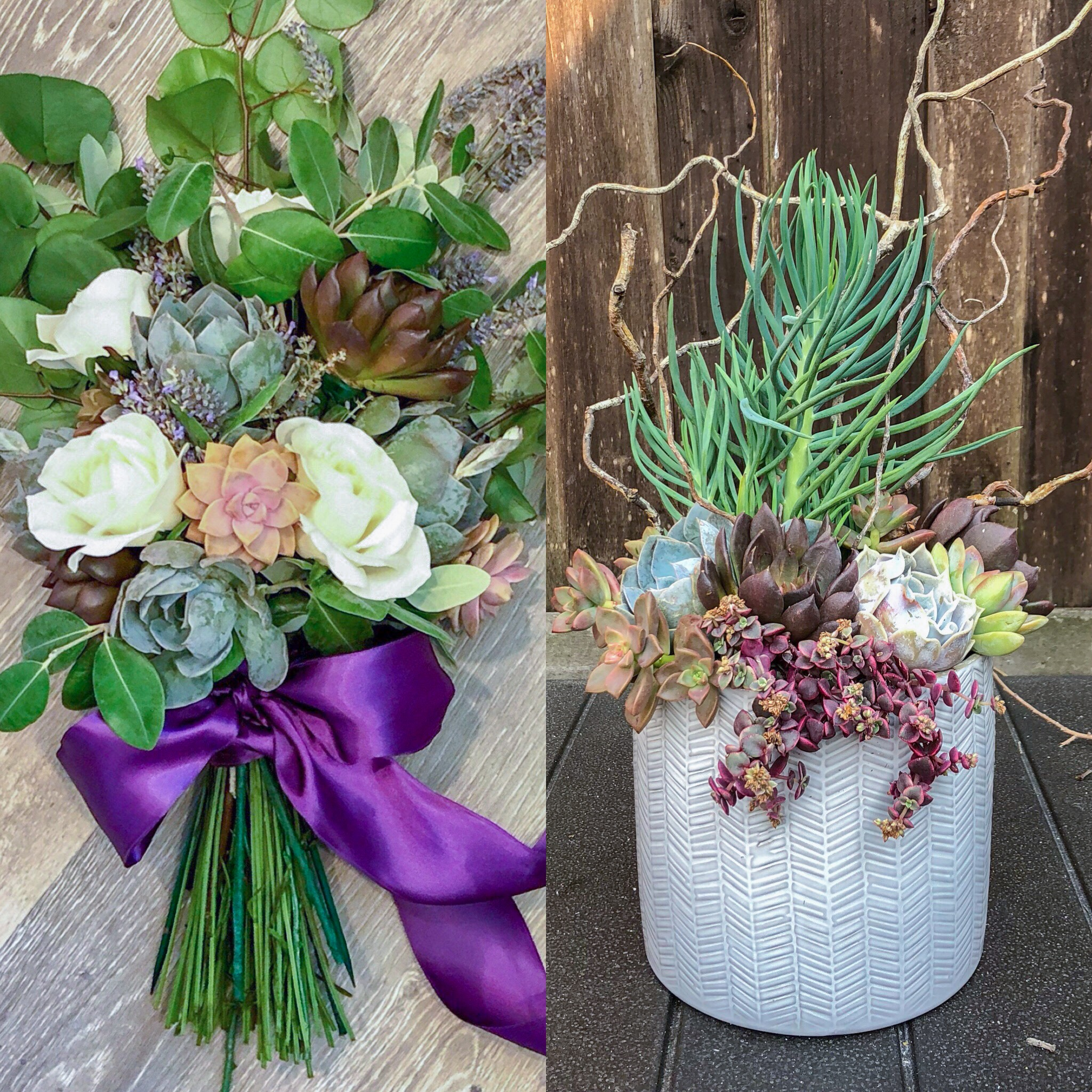 succulent wedding bouquet 4