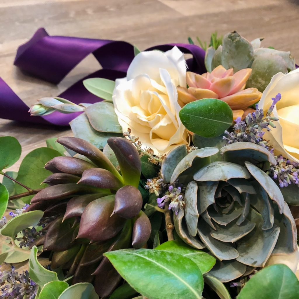 lavender and succulents bouquet