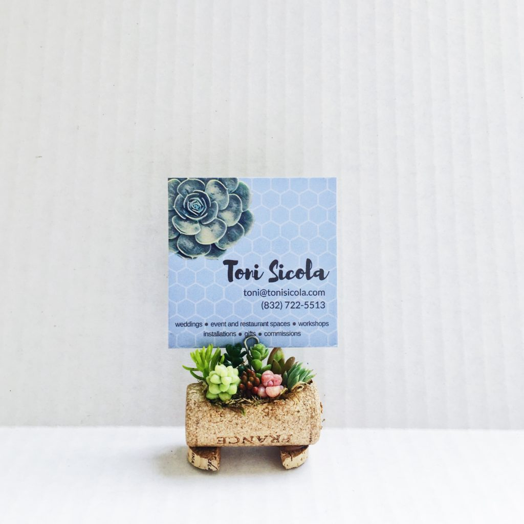 Succulent Microgardens Wine cork place card holder