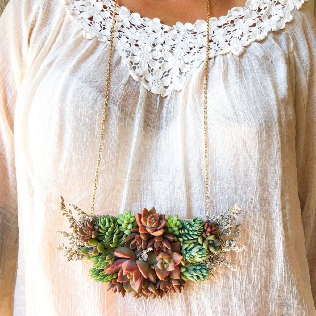succulent necklace long gold chain