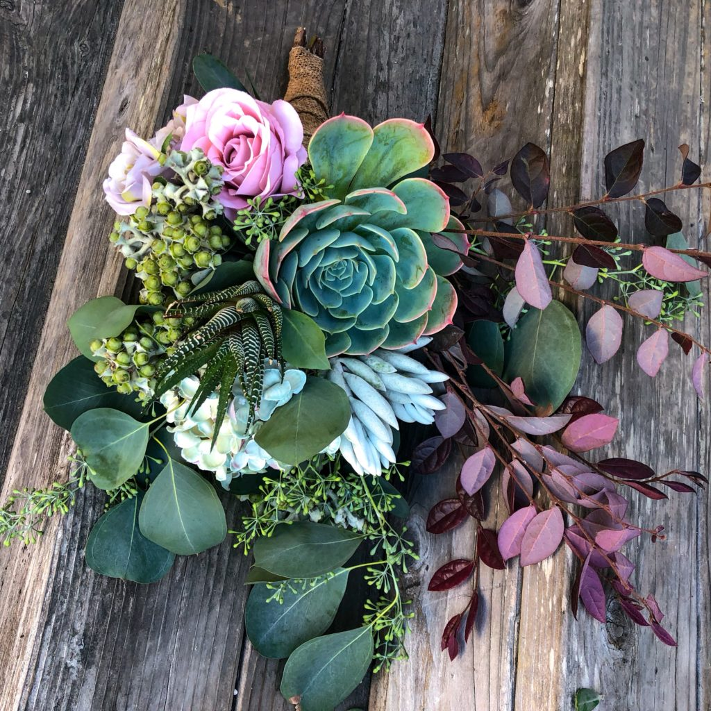 mixed succulent bouquet eucalyptus