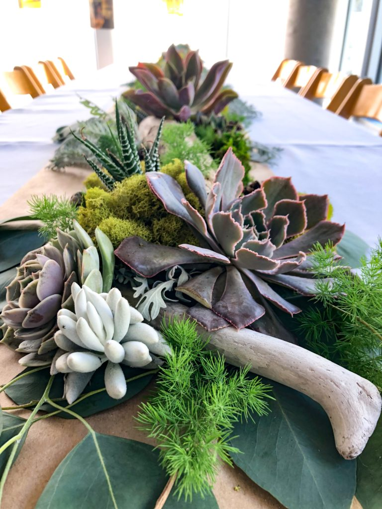 succulent tablescape woodland tablescape