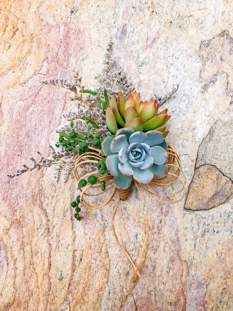 succulent corsage mother of the bride