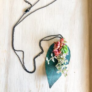 oxidized copper leaf with live succulent pendant necklace