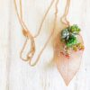 rose gold leaf with live succulent pendant necklace