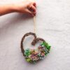 heart-shaped succulent wreath