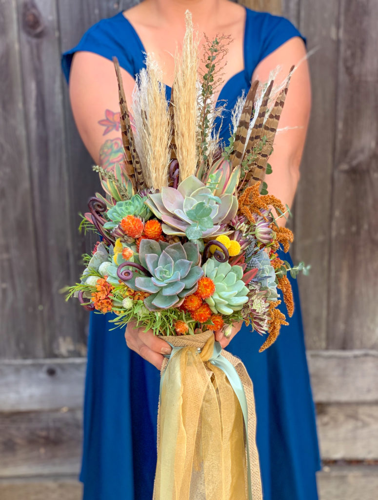 succulent bouquet fall wedding pheasant feather bouquet fall wedding