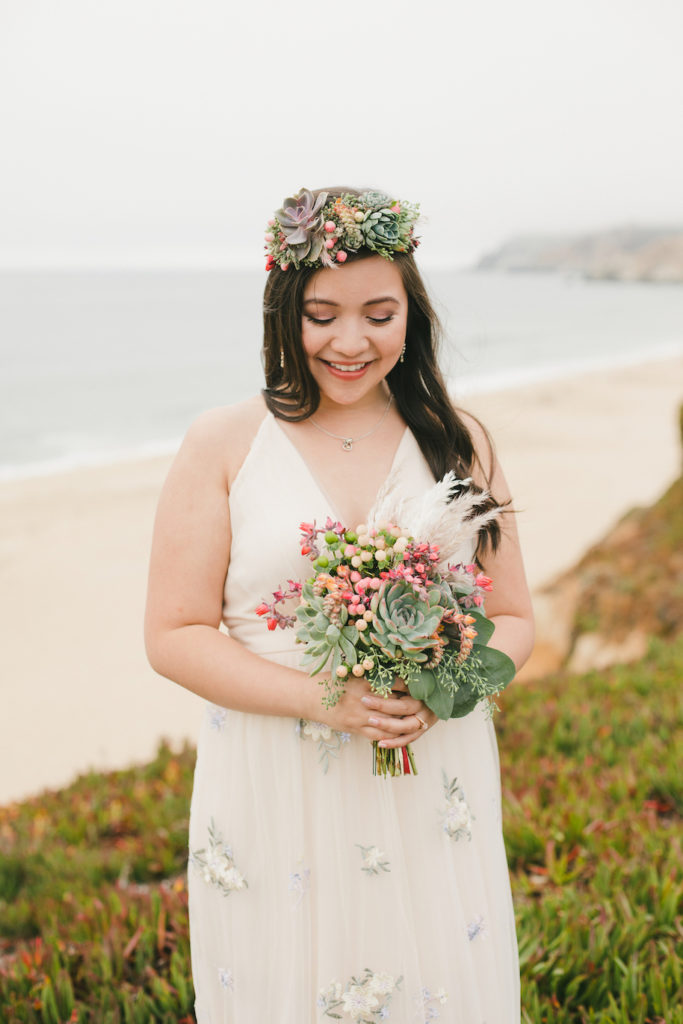 succulent bouquet succulent crown engagement photos