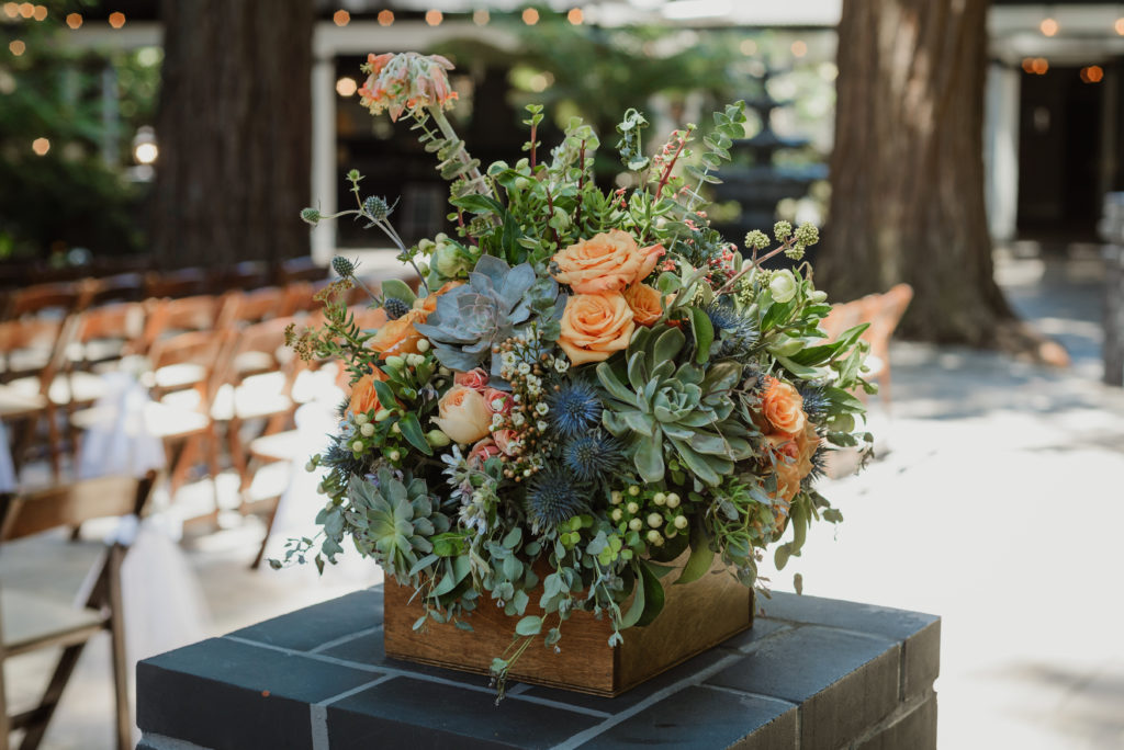 large wood box filled with succulents for redwood wedding at Deer Park Villa in Fairfax, CA