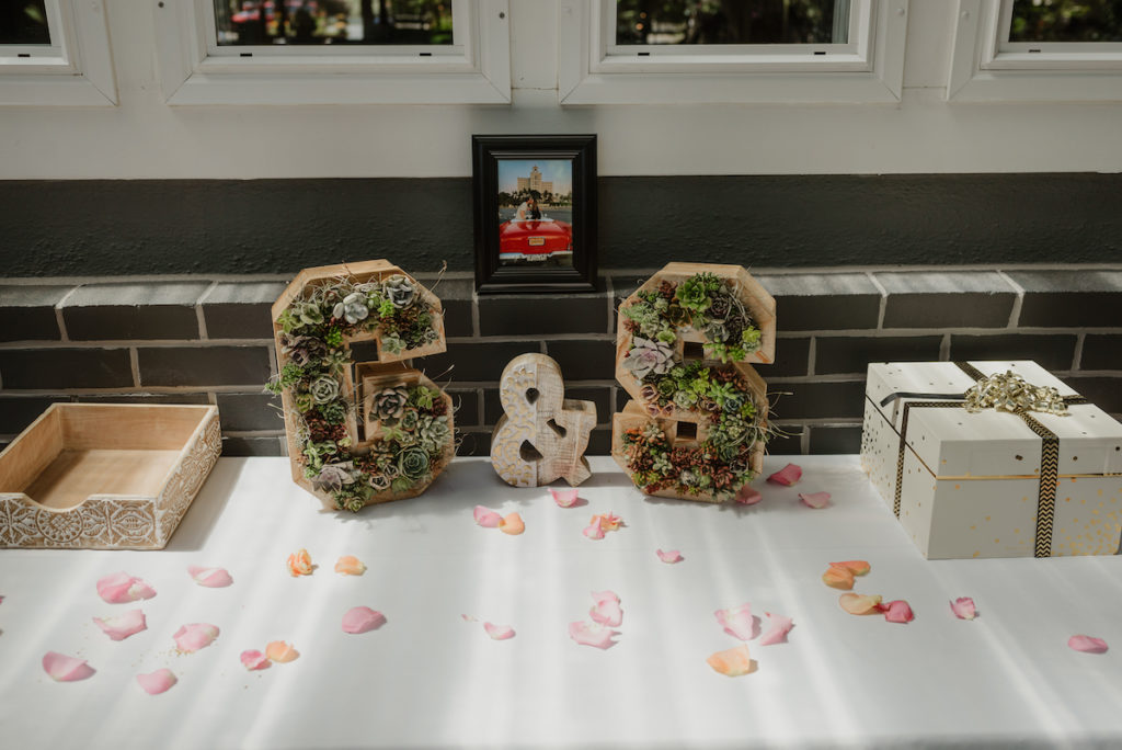 Vertical succuletn garden initials at redwood wedding at Deer Park Villa in Fairfax, CA