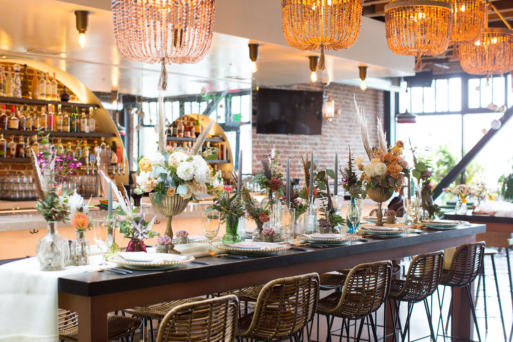 wedding table at Oeste Bar and Cafe in Oakland, CA Tablescape by Succulents for Hire
