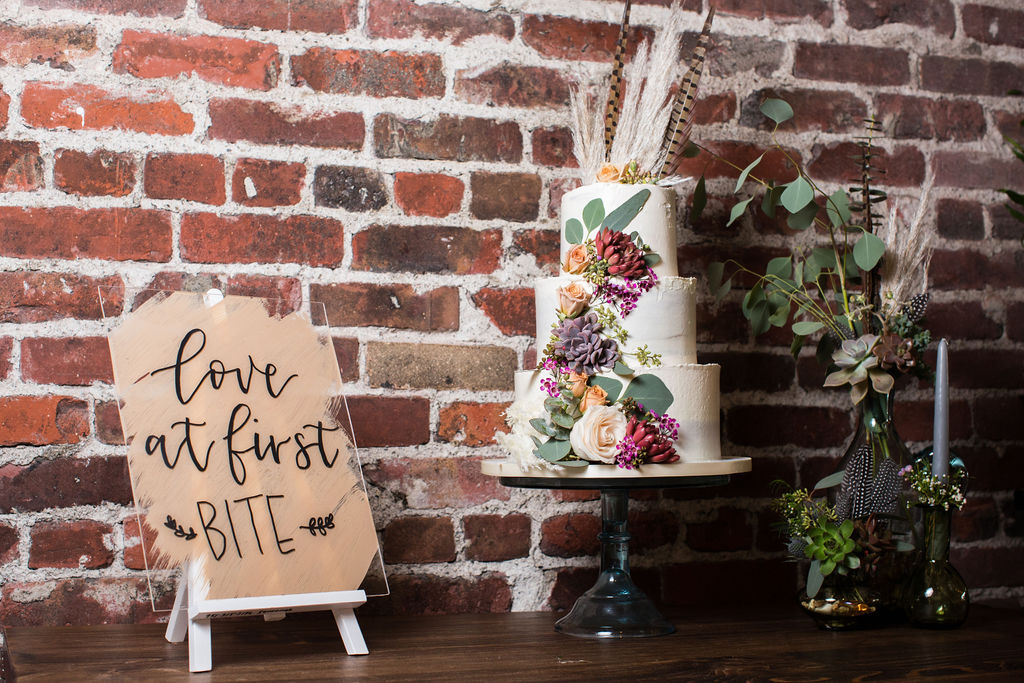 succulent-adorned wedding cake by Ma Petite Maison, succulents by Succulents for Hire