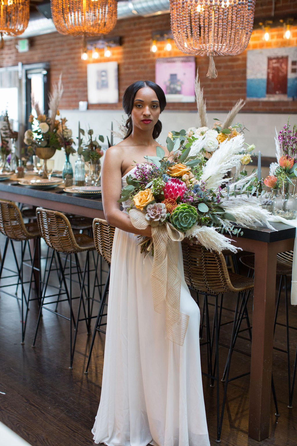 strapless wedding dress second-hand wedding dress floral by Succulents for Hire